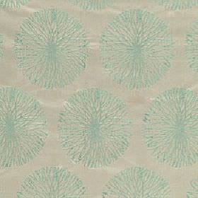 Moneta - Turquoise - 100% polyester fabric in light beige with a pale turquoise coloured design of patterned circles made up of thin lines