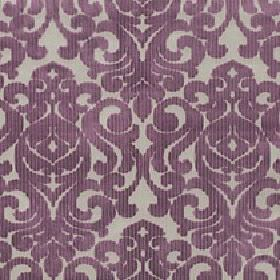 Camerelle - Boysenberry - Fabric made from light grey viscose and polyester behind a design of large swirls and patterns in dark, dusky purp