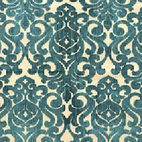Camerelle - Deep Lake - Swirls and patterns printed in a dark teal coloured stylish design on viscose and polyester blend fabric in pale yel