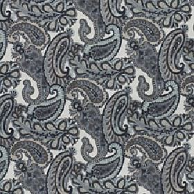 Lucilla - Coast - Simple paisley shapes printed in various shades of grey on a white viscose, cotton and polyester blend fabric background