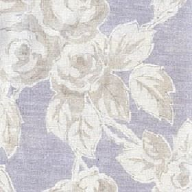 Rosette - French Lilac - Light grey and white making up a shaded rose and leaf design on a denim blue-white cotton and linen blend fabric backgr