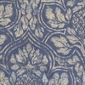 Corinthian - Lead - Light grey and navy blue coloured fabric made from cotton and linen with a very large, patchily printed floral design