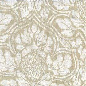 Corinthian - Palm - Fabric made from cotton and linen with a slightly patchy large white floral design on a plain creamy beige background