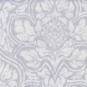 Corinthian - Silver Birch - Two light shades of grey making up a large, elegant repeated floral pattern on fabric made from cotton and linen