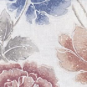 Kalina - Autumn Night - Warm brown, dusky red, light grey & Royal blue large shaded flowers printed on pale grey fabric made from cotton & l