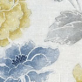 Kalina - Summer Breeze - Very pale grey cotton and linen fabric printed with large shaded flowers in rich yellow-gold, blue and light grey s