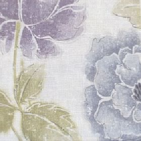 Kalina - Zinc - Light shades of blue, green, purple and grey making up a large, shaded floral pattern on fabric made from cotton & linen