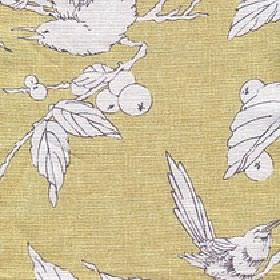 Birdsong - Citrine - White leaves, berries and birds outlined in grey on a background of yellow-brown coloured cotton and linen blend fabric