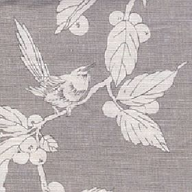 Birdsong - Doe - Off-white and steel grey coloured fabric made from cotton and linen printed with a simple bird, leaf and berry design