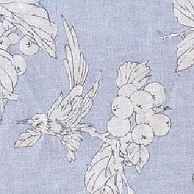 Birdsong - Morning Frost - Bird, leaf and berry patterned cotton and linen fabric with a white design outlined in grey on a powder blue back