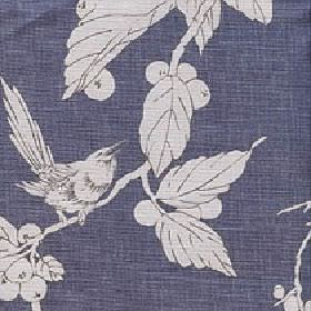 Birdsong - Orion Blue - Cotton and linen blend fabric made in midnight blue, behind a pale grey bird, leaf and berry pattern with dark grey outl