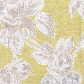 Rosette - Primrose - Lime green cotton and linen blend fabric made with a shaded rose and leaf print pattern in white & a light beige colour