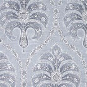 Jaipur - Alaska - Several different light shades of blue and grey making up a cotton and linen blend fabric with a repeated floral pattern