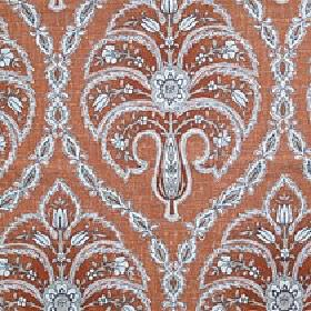 Jaipur - Burnt Orange - Detailed, patterned florals and swirls printed on cotton and linen blend fabric in pale blue, grey & dark copper col