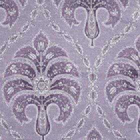 Jaipur - Zinc - Cotton and linen blend fabric made in several shades of purple with a repeated detailed, patterned floral & swirl design