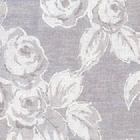 Rosette - Shadow - Fabric made from cotton and linen with a soft rose and leaf print pattern in three different light shades of grey