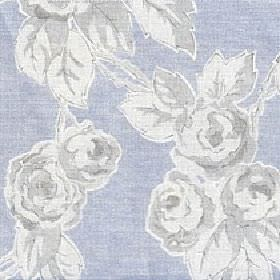 Rosette - Winter Sky - Rose and leaf print patterned cotton and linen blend fabric made with a light grey and white shaded design on light b