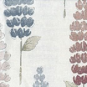 Lupino - Flamenco - Stylised foxglove style floral patterns in light, dusky shades of blue, red, pink & green on white cotton & linen fabric