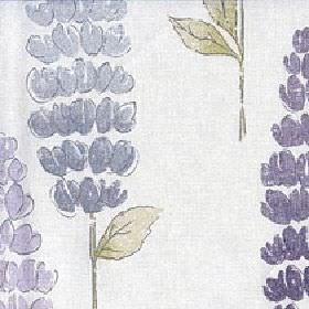 Lupino - Zinc - Dark purple, lavender, dusky blue and green stylised foxglove patterns printed on grey-white cotton & linen blend fabric