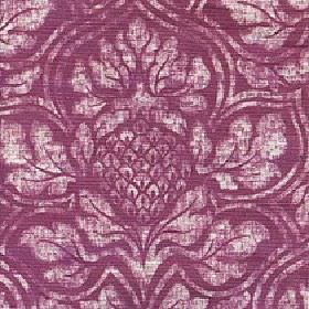 Corinthian - Baked Apple - A large chalk white coloured floral design printed patchily on a deep purple-pink cotton and linen blend fabric bac