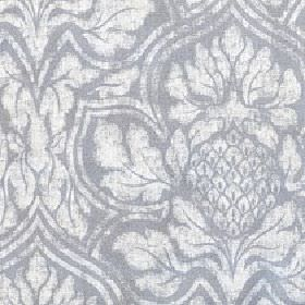 Corinthian - Dapple Grey - Cotton and linen blend fabric made in light grey behind a very large, patchily printed white floral design