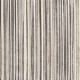 Mystique - Teak - Very thin lines making up a vertical stripe pattern on 100% Trevira CS fabric in black, white and various shades of grey