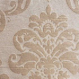 Sojana - Champagne Beige - Beige and latte coloured fabric made from 100% Trevira CS with a floral & swirl pattern that is large, simple & s