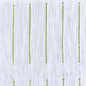 Echo - Green Glow - 100% Trevira CS fabric made in streaky light grey and white, printed with rows of long individual grass green lines