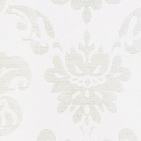 Sojana - Snowdrop - Subtly patterned 100% Trevira CS fabric with plain bright white behind a large, simple design in a very pale grey colour