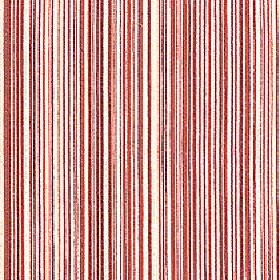 Mystique - Cherry Tomato - Vertically striped 100% Trevira CS fabric with a design of very thin lines in white and various red and salmon pink