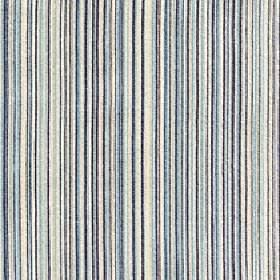 Mystique - Mineral Blue - Fabric made from 100% Trevira CS with a very thin, closely spaced vertical line design in white and various shades o