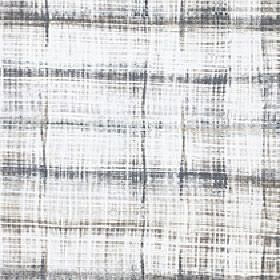 Velocity - Natural - A patchy, streaky grid-style design printed in battleship grey on a white 100% cotton fabric background