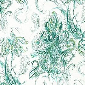 Makara - Malachite - White 100% cotton fabric printed with a bright peppermint green coloured design of very detailed swirls and streaks