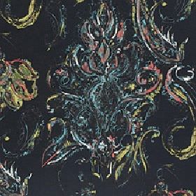 Makara - Midnight Glow - Multicoloured detailed swirls and streaks printed in green, yellow, red, blue and white on black 100% cotton fabric