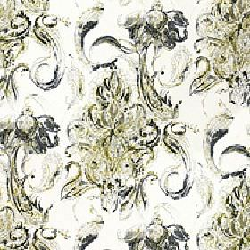 Makara - Palm - Floral inspired swirls and streaks printed roughly in black and olive green on 100% cotton fabric in a light cream colour