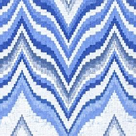 Titan - China Blue - Wavy zigzag lines printed in a large, horizontal design on 100% cotton fabric in white and bright shades of Royal blue