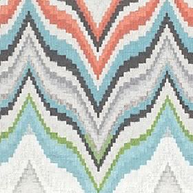 Titan - Coral Sea - 100% cotton fabric in white, grey, light blue, green andred-orange shades with a large, horizontal wavy zigzag pattern