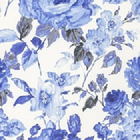 Albion - China Blue - White 100% cotton fabric printed with a large floral and leaf design in several different shades of bright Royal blue