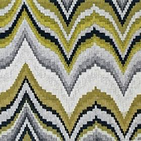 Titan - Palm - Fabric made from 100% cotton in black and shades of grey and olive green with a pattern of large horizontal wavy zigzags