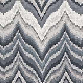 Titan - Sediment - Large, horizontal wavy zigzag lines running across 100% cotton fabric in several different light shades of grey