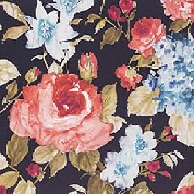 Albion - Midnight Glow - Large flowers shaded in tomato red, dusky blue and khaki colours on a solid black 100% cotton fabric background