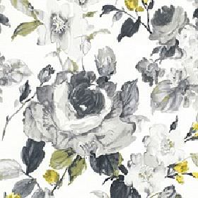 Albion - Morning Sun - Various different shades of grey making up a large floral pattern with some green and yellow on white 100% cotton fab