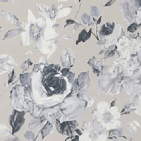 Albion - Natural - 100% cotton fabric made with a large, shaded floral and leaf design in several different light grey colours