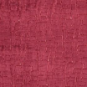 Leda - Garnet - A pattern of random, closely spaced, strawberry coloured blocks covering viscose, cotton and polyester blend fabric