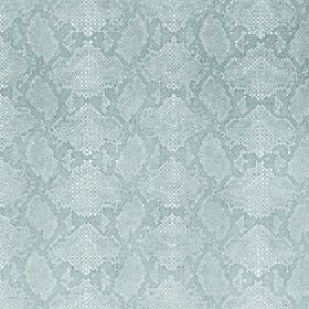 Ganymede - Seaspray - Viscose and cotton blend fabric in baby blue, featuring a delicate reptile skin pattern