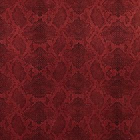 Ganymede - Cardinal - A deep scarlet coloured reptile skin pattern covering viscose and cotton blend fabric