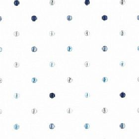 Gallien - Sky - Various different light and dark shades of blue making up a small polka dot pattern on white polyester and cotton fabric