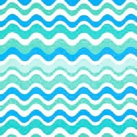 Sucette - Sky - Bright blue, turquoise and white shades making up a fun, summery wavy horizontal line pattern on polyester and cotton fabric