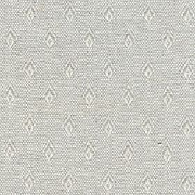 Fara - Winter White - Fabric made from cotton and linen in light grey and white, with rows of small, simple diamonds on a speckled backgroun
