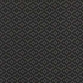 Isamal - Jet - Cotton, viscose and polyester blend fabric with a repeated jagged diamond shape pattern in dark iron grey and black
